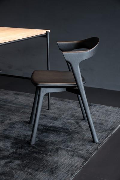 fauteuil de table chene cuir noir ethnicraft