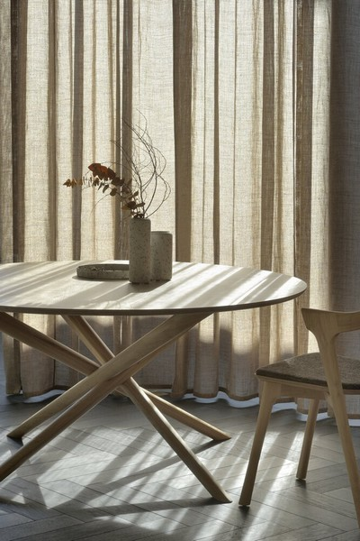 fauteuil de table chene tissu marron ethnicraft